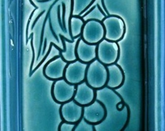 California Pottery Divided Serving Dish with Fruit Motifs: Blue Hue Hue
