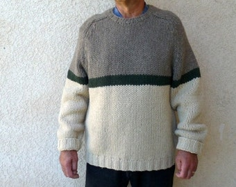 Fisherman Knit Sweater J. Crew Wool Hand knit Grey beige green Men Large