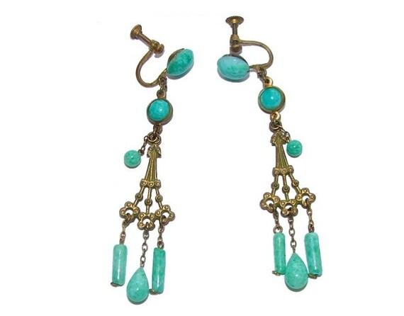 Earrings: Art  Nouveau Peking Glass Chandelier Gorgeous Green Jadeite