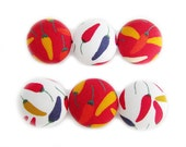 Fabric Covered Buttons - Chillies - 6 Large Fabric Buttons