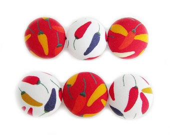 Sewing Buttons / Fabric Buttons - Chillies - 6 Large Fabric Buttons - Fabric Covered Buttons