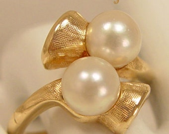 Awesome Twosome - Cultured Pearls 14Kt Gold Estate Ring