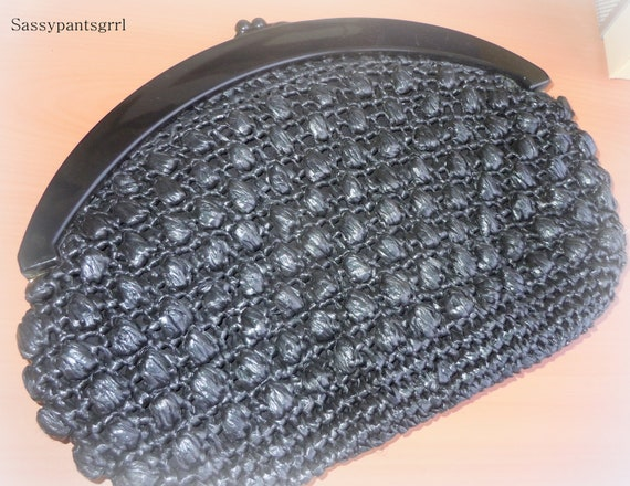 Vintage RETRO Black Raffia Straw Woven Clutch with Black Lucite Handle