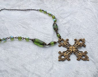 Olive green cross necklace brass ancient  Celtic Goth bridal