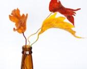 Wet Felted Woodland Red Orange Yellow Fall Autumn Leaves Wool Home Table Decor  Present Wedding - LigaKandele