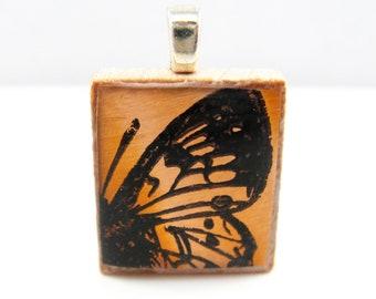 Copper butterfly wing - Glowing metallic Scrabble tile pendant