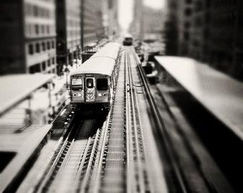 Black and White Train Print, Chicago photography, El train decor, Skyline photograph, boys room, playroom, wall art print, train home decor,