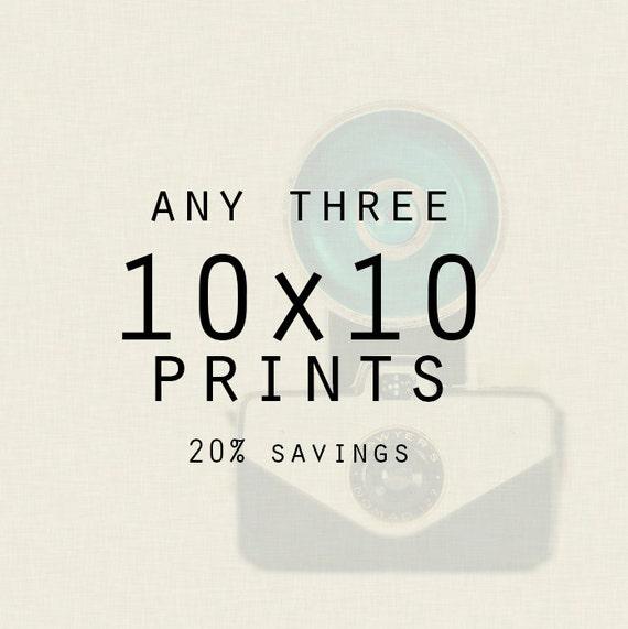 Custom Print Set - Any Three 10x10 Photographs, Wall art