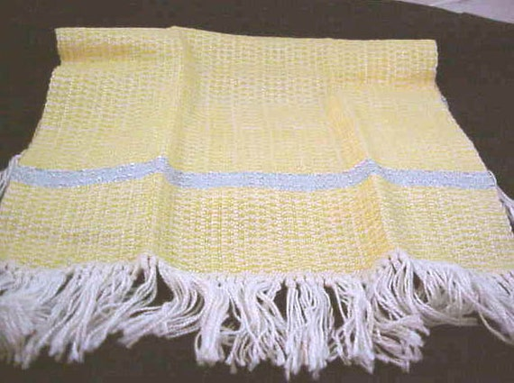 Cottage Chic  vintage  Small Table Runner  Yellow w Blue