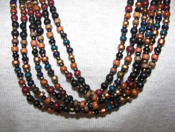 Multi Strand  LOng  necklace  wooden beads  Brown  Bronze Gold New old Stock Fall colors on SALE