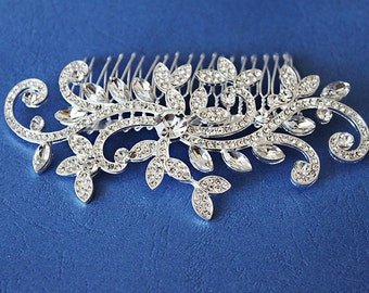 Couture Rhinestone Silver Plated Swirl Bridal Hair Comb a.