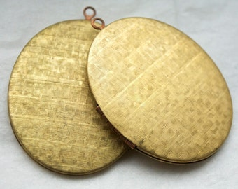 2 Rare Vintage 1950s Brass and Copper Art Deco Patterned Lockets