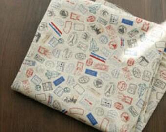 5 yards, Vintage style Post Stamps on linen blended 140cm, U3225