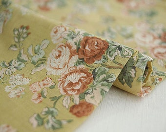 Lovely Roses on Light Mustard Gauze Cotton 146cm WIDE, U7079