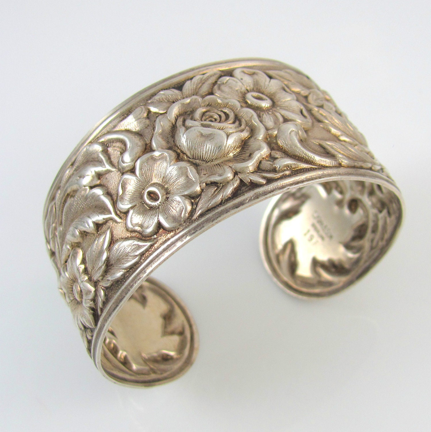 S Kirk And Son Sterling Silver 925 Rose Repousse Floral Flower