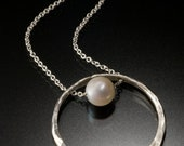 Sterling Silver Nebula Pendant with White Fresh Water Pearl