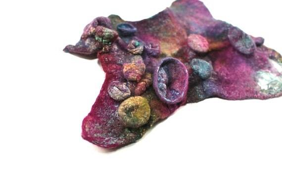 Felted Cuff Handmade Textured Women Wristband Multicolor Bracelet Fall Fashion