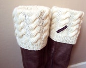 Boot Cuff / Boot Sock / Leg Warmer - Knitted in Offwhite Wool Yarn