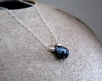 Black Necklace, Black Spinel Necklace, Sterling Silver, Black Gemstone, Simple Necklace - Elegance