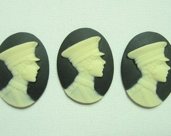 New Arrival 3 pieces 40x30mm Black Motorman Cameo