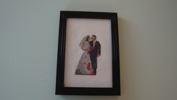 Zombie Wedding Gifts: Framed Wedding Zombie Cross Stitch By TheUnholyGhost On Etsy