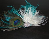 Peacock teal feather fascinator, head pice, hair clip
