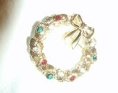 Bejeweled Christmas Wreath Goldtone Pin and Painted Bell in Goldtone Pin