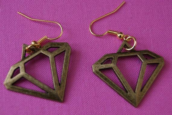 Brass Diamond Shaped Charm Earrings cool Unique Trashy Emo Bling