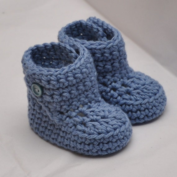 Baby Booties with button top in size 0 to 6 months Cotton
