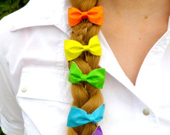 Neon Rainbow Duct Tape Bows - Set of Six Bows