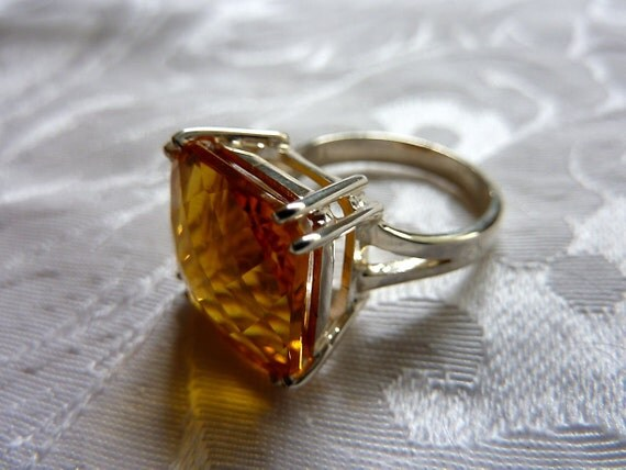 Sterling silver ring with large, golden colored citrine, custom sized, fine jewelry, luxury gems, quality