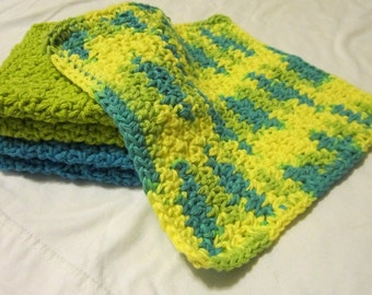 Cotton Crochet Washcloths in Bright Blue and Green - Set of 3