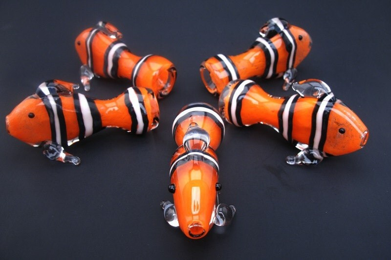 Clown fish chillum glass pipe for Glass fish pipe