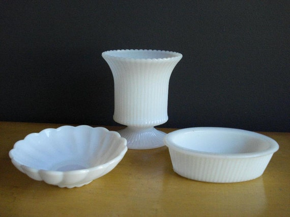 How To Get Organized - Milkglass Containers - Milk Glass Set of Three
