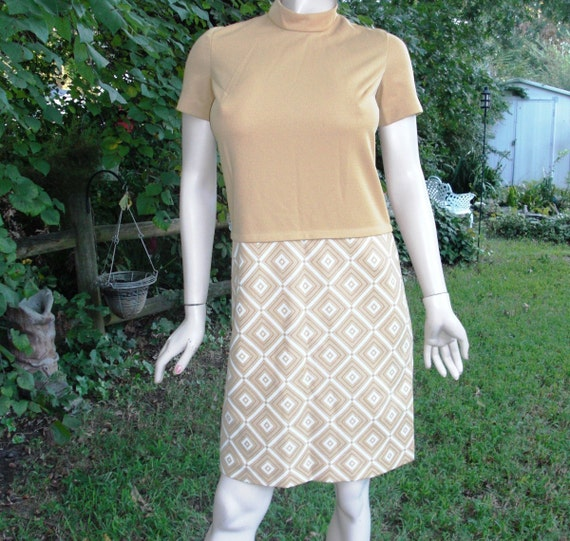 60s Tan and Cream Jacket and Dress by Norman Wiatt Knits Size 8 Great Costume 60s Dress Vintage Dress Vintage Suit