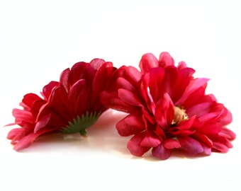 2 Dark Pink Zinnia - Artificial Flowers