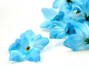 Bright Blue Bargain Delphinium - 10 Count - 2 layers - Budget Silk Flowers