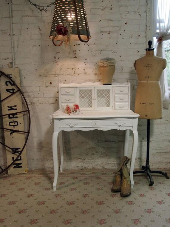 Painted Cottage Chic Shabby White Romantic Vanity / Desk DK264