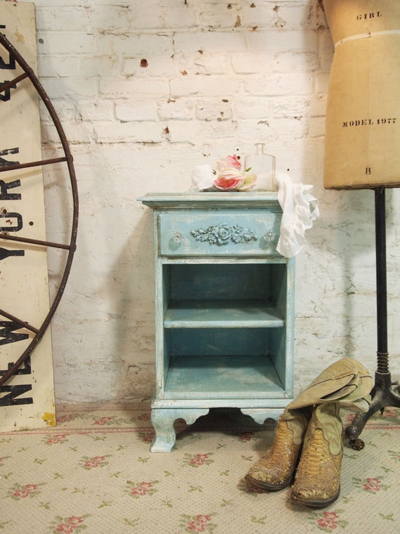 Painted Cottage Chic Shabby Aqua Night Table NT431