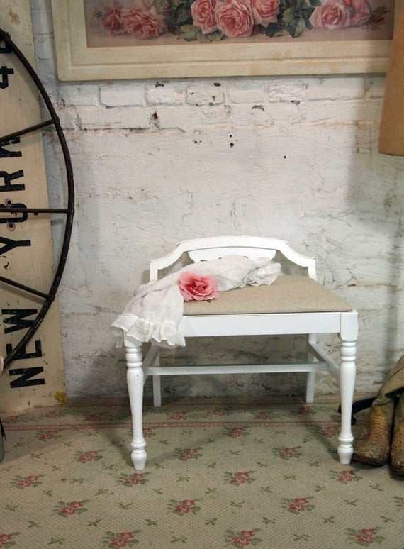 Painted Cottage Chic Shabby White Romantic French Vanity Stool CHR366