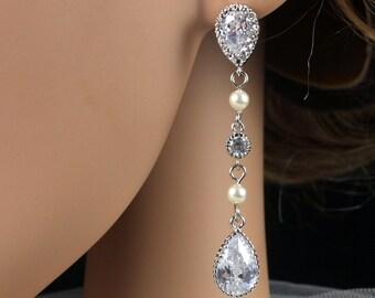 Kaelyn - Cubic Zirconia Teardrop Silver Earrings, Bridesmaid jewelry, Clear White Teardrop Cubic Zirconia Crystal, Long Earrings, weddings