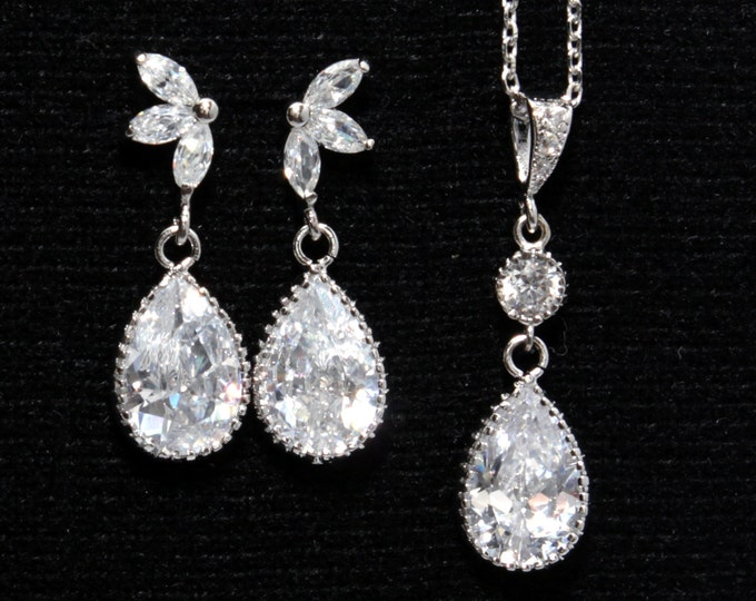 Tacita Jewelry Set - Teardrop Crystal Necklace and Earrings, Marquise Crystal Bridal Earrings, Bridesmaid Jewelry