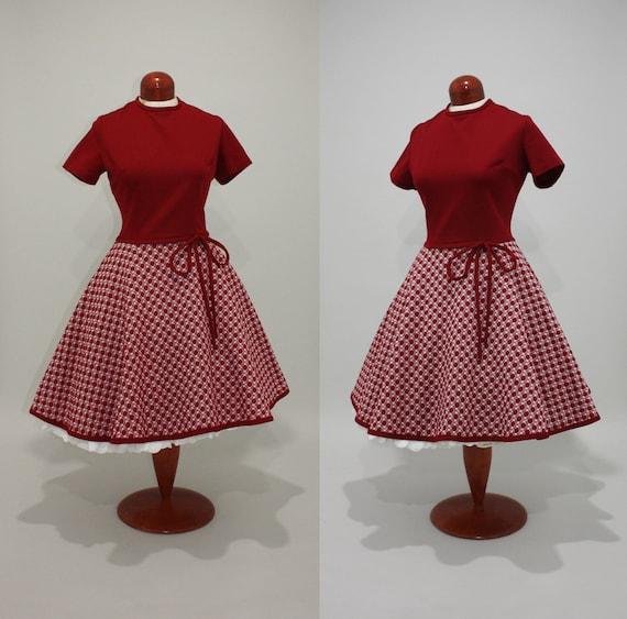 vintage 60s day dress - Molecular Level polka dot merlot burgundy red full circle skirt mini MOD