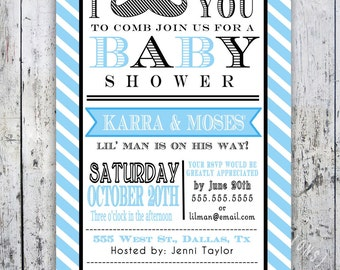 Little Man Mustache Baby Shower Invitation -- Digital Printable Custom Invites