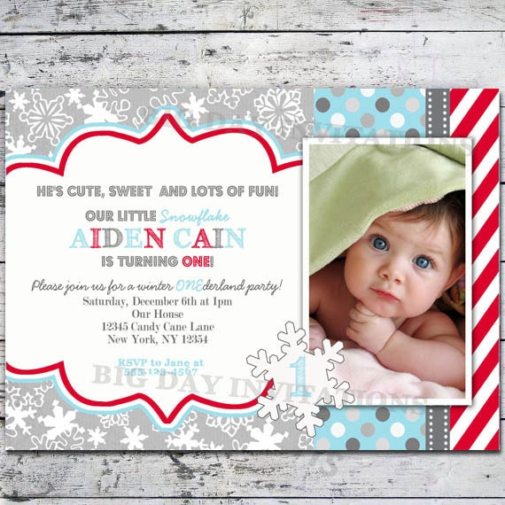 ... Winter Wonderland Invitation Snowflakes - Bright Modern - Printable