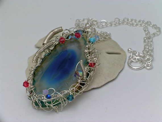 Free Form Wire Wrapped Agate Pendant