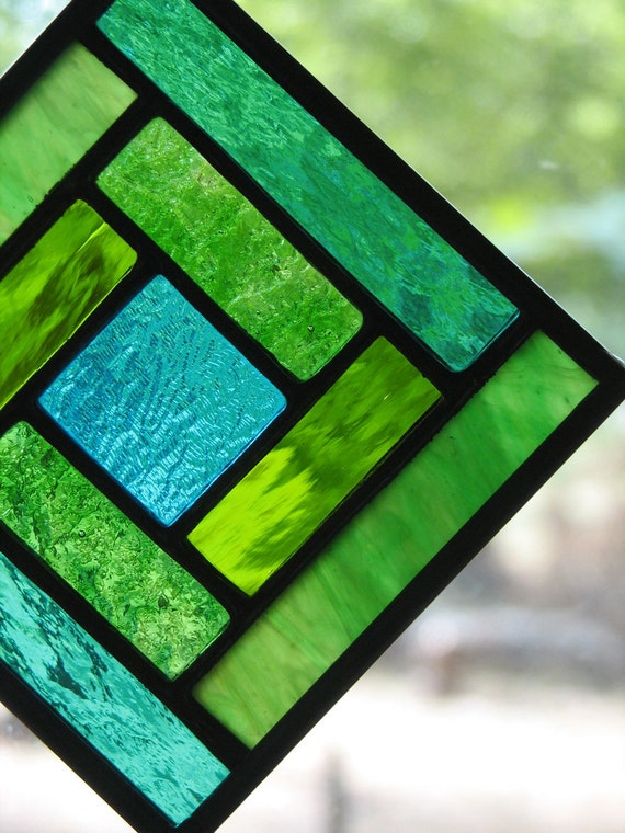 Green Teal Yellowgreen Square Suncatcher