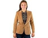 Vintage corduroy blazer, corduroy jacket, tan blazer, leather buttons, all cotton, Never worn, Size M