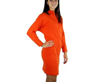 1980s knit dress batwing sleeves orange linebacker shoulders bodycon Size Medium
