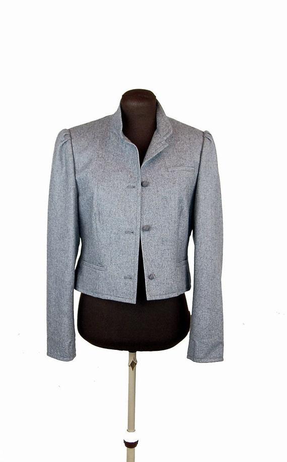 Diane Von Furstenberg blazer, gray wool blazer, early 1980s, short jacket, Size 6